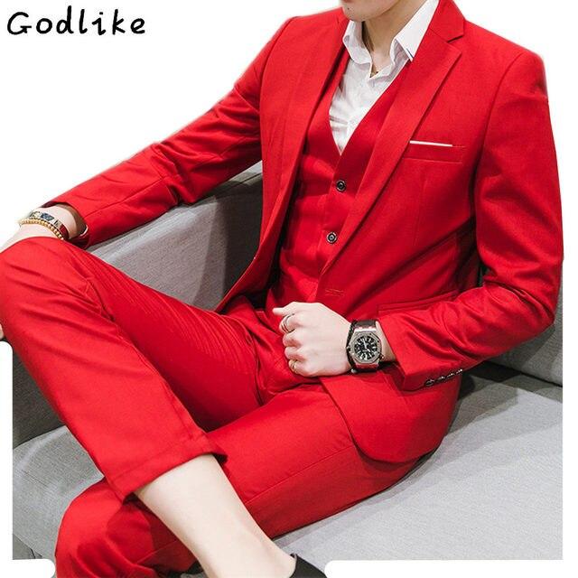 24182e65443 Rojo de la boda esmoquin de corte Slim Fit trajes como traje de novio 2019  negro