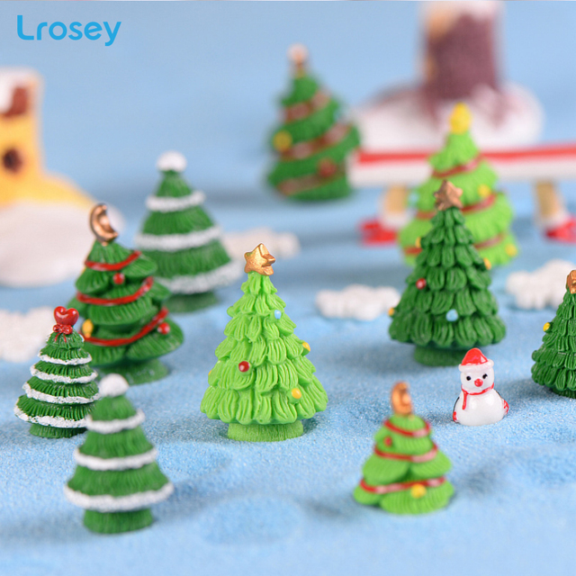5pcs christmas tree decorations fairy garden miniatures resin crafts best selling 2018 new year christmas decorations