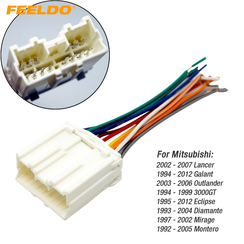 FEELDO CAR RADIO STEREO WIRING HARNESS ADAPTER For MITSUBISHI LANCER GALANT OUTLANDER 3000GT DIAMANTE MIRAGE MONTERO mitsubishi lancer 03 wiring harness mitsubishi wiring diagrams 1986 Toyota SR5 Fuel Injector Wire Harness at reclaimingppi.co