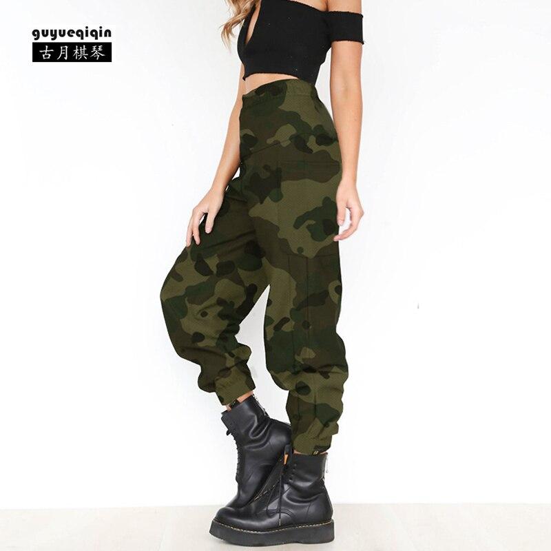 81be429452e7c ... Cargo Pantalones mujer 2018 Europea otoño cintura alta pantalones Hip  Hop pantalones de camuflaje más tamaño 2XL envío gratis ropa mujer Online  Baratos