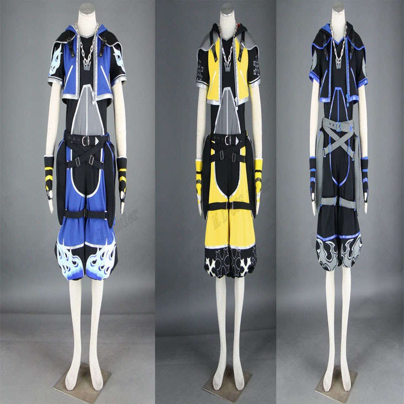 The Reduction of Sora Kingdom Hearts 2 Cosplay Costume Three Colors Yellow Black and Blue