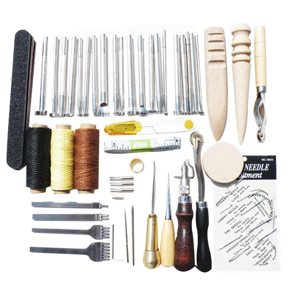 59Pcs Leather Fabric Craft Hand Sewing Stitching Stamping Saddle Making Tool Kit Set