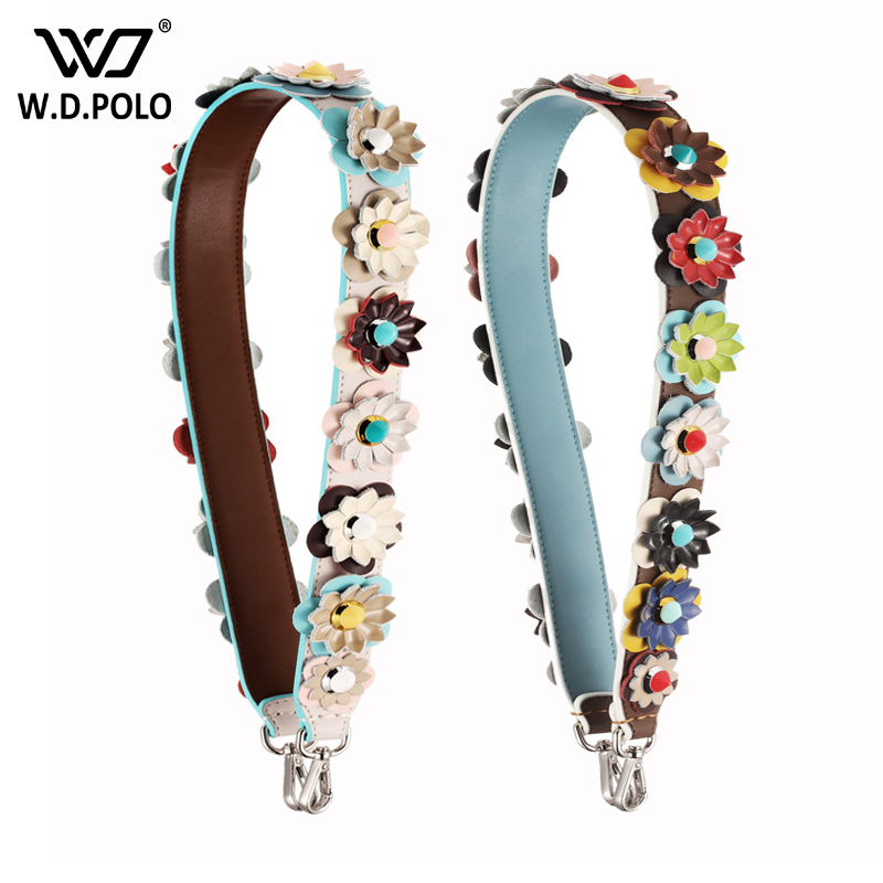 WDPOLO NEW Strapper YOU Handbags bags strap Colorful Rivet Cow Leather bags Parts Women Shoulder Strap Belts bags belts C081
