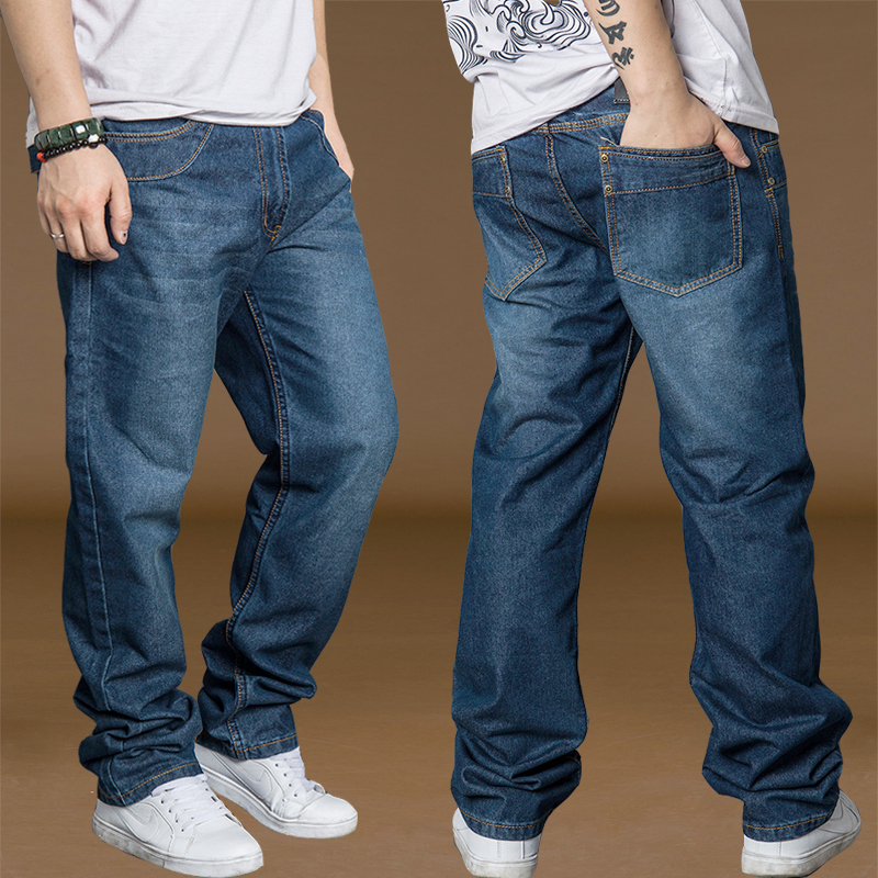 Bell Bottom Pants Men Cotton Jeans Plus Size 40 42 44 Spring Autumn Mens  Wide Leg Jeans Hip Hop Harem Loose Denim Pants For Boys