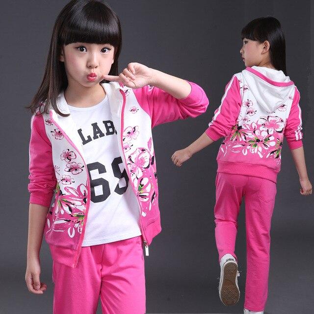 7f92b9676a68 Осенняя модная одежда для девочек, куртка, детские толстовки с цветочным  принтом + штаны,
