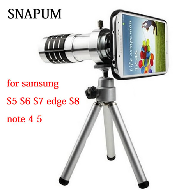 SNAPUM cellphone mobile phone 12x Camera Zoom Telescope lenses telephoto Lens For Samsung galaxy S4 S5 S7 edge S8 S8+ note 4 5