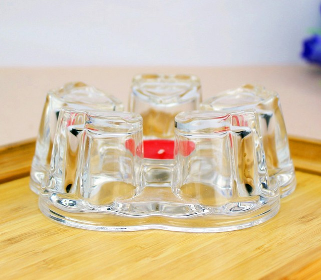 1PC Teapot Warmer Heart Heating Base Coffee Water Scented Tea Trivet Candle Clear Glass Heat-Resisting Insulation Base EJQ 1076