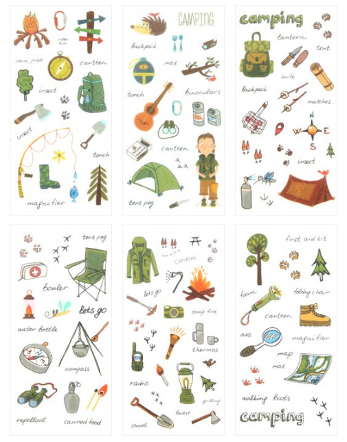 Wild Camping Diy Decorative Sticker(1pack=6pieces)