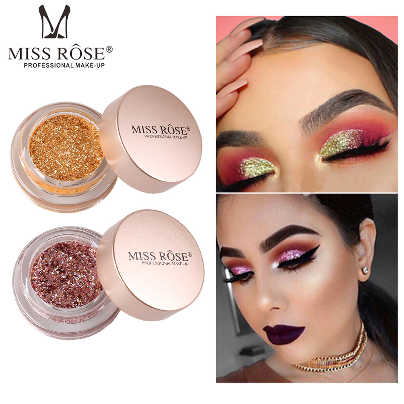 MISS ROSE Brand Holographic Single Color Shimmer Glitter Eye Makeup Shadow Pigment Bling Gloss Cream Face Glow Make up Cosmetics