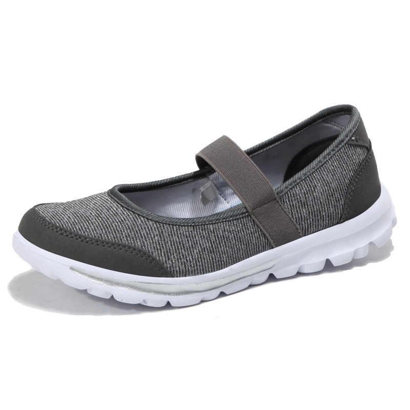 Yeni Kadın Vulkanize Ayakkabı Slip-on Örgü rahat ayakkabılar Kadın Flats Ultra hafif Sneakers Nefes Açık Kadın Ayakkabı hemşire ayakkabıları
