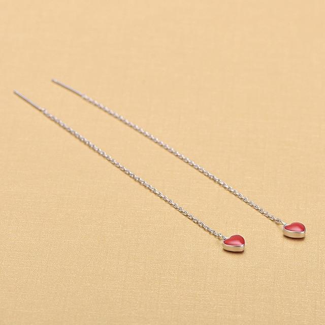 Длинные Стильные серебряные серьги гвоздики с красной эмалью