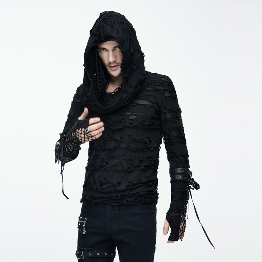 Punk Men Ripped T Shirts Hooded Black T-shirts Holes Long Sleeve Spring Tee Shirts Polyester Casual Tops