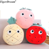 30cm Creative Watermelon Pineapple Peach Sleeping Pillows Soft PP Cotton Stuffed Fruit Cushions Children's Room Decoration Toys