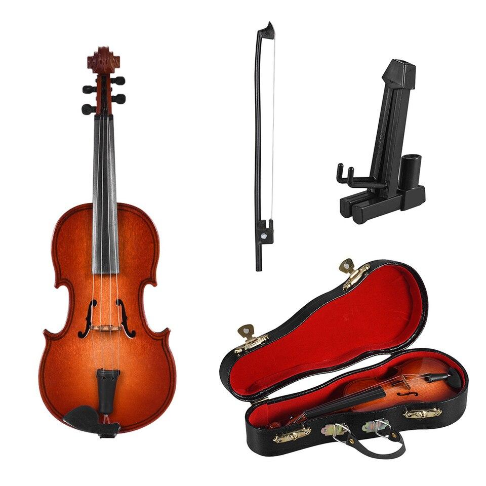 Lovely Chic Novelty Wooden Violin Miniature Ornament Violin Model Desk Decor