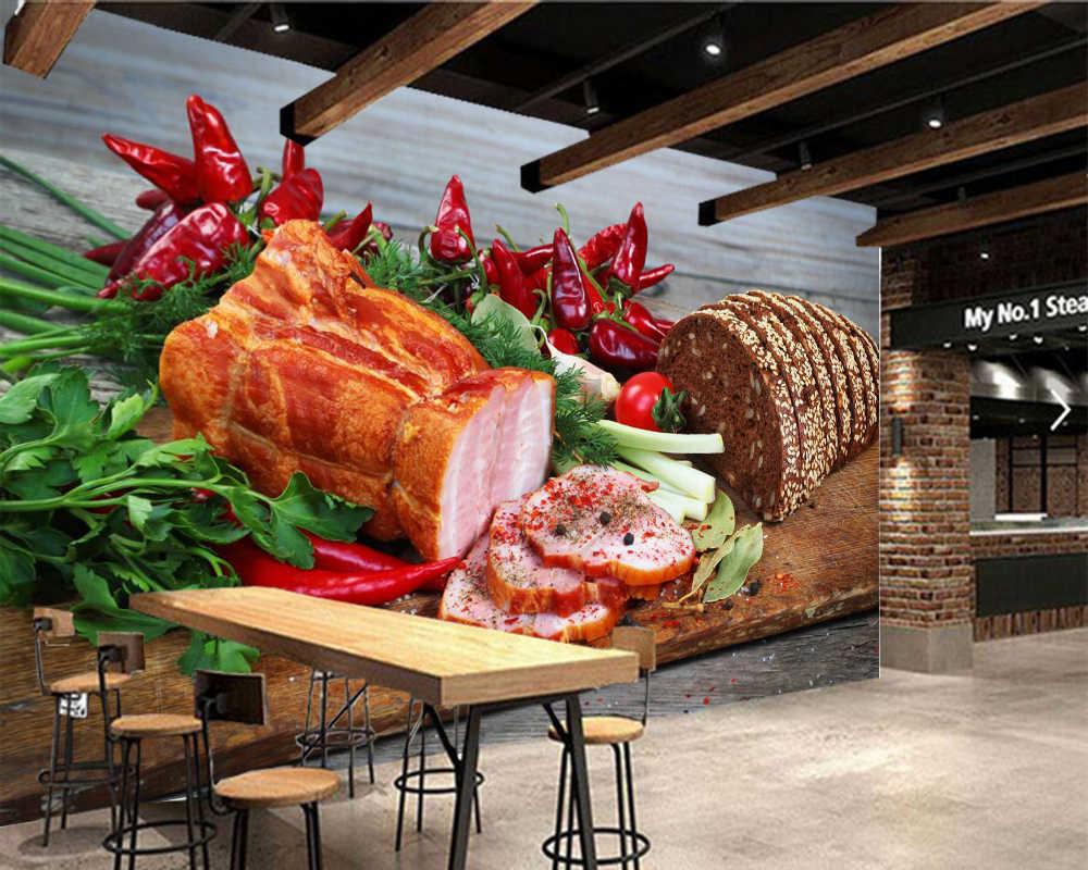 Papel de parede jamón pan verduras pimienta tabla de cortar comida Papel tapiz 3d, tienda de comida rápida restaurante comedor murales de cocina