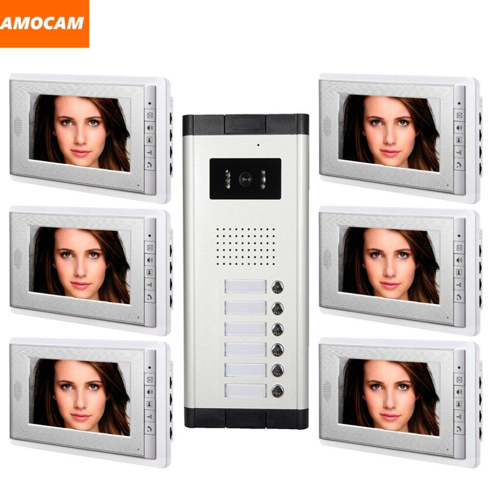 6 Единица квартира домофон Системы 7 дюймов телефон видео домофон Системы видео Дверные звонки визуальный домофон для квартиры