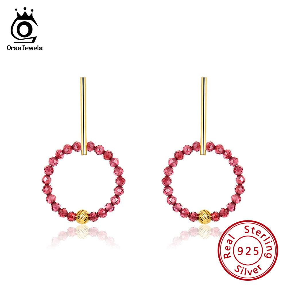 ORSA JEWELS 925 Sterling Silver Drop Earrings For Women Red Garnet 18K Gold Plated Round Earings Natural Stone Jewelry OSE153 in Earrings from Jewelry Accessories