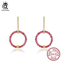 ORSA JEWELS 925 Sterling Silver Drop Earrings For Women Red Garnet 18K Gold Plated Round Earings Natural Stone Jewelry OSE153 natural red garnet stone drop earrings s925 silver natural gemstone earring women personality fashion drop earrings for party