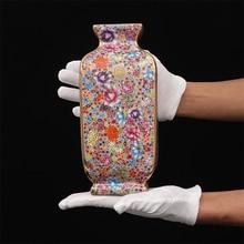 Qing Qianlong เคลือบสีสันดอกไม้และนกแจกันสแควร์โบราณบ้านตกแต่ง Porcelain ตกแต่งโบราณ Collection