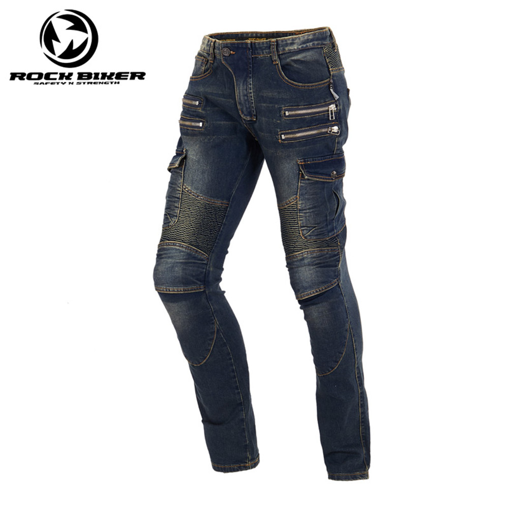 Rock Biker Motorcycle Elastic Skinny Pants Men Motocross Moto Racing Jeans Trousers 81796 Harley Retro Protective Gear Pants цена
