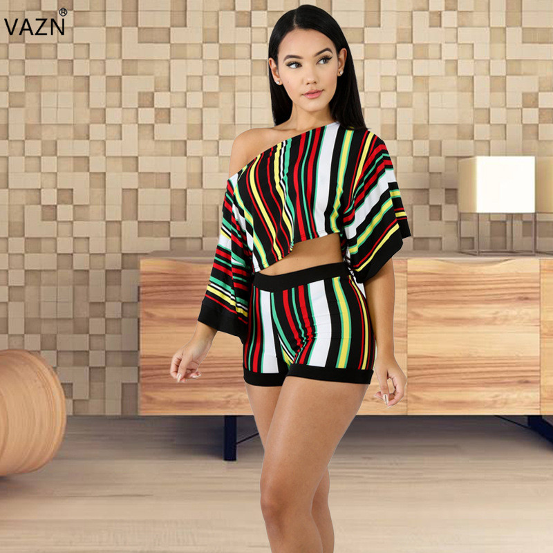 VAZN Spezielle Design 2018 Neue Beliebte Stil Frauen 2 stück Set Striped O-ansatz Halb Flügel-hülse Kurze Hosen Phantasie Dünne set MF145