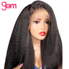 Kinky Straight Wigs 13x4 Lace Front Human Hair Wig Pre Plucked For Black Women GEM Peruvian Remy Yaki Lace Front Human Hair Wigs(China)