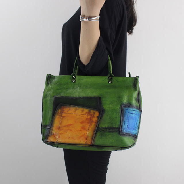 2017 Genuine Leather Top-Handle Bag Women Shoulder Bag Cross-body Handbag Cow Leather Vintage Original Design