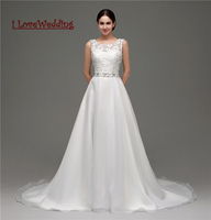 ILoveWedding New Sexy A Line Lace Tulle Wedding Dress Cheap Women Bridal Gown Backless With Crystal