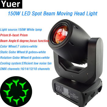 150W LED Beam Spot moving head Wit led Lamp prism vuurtoren spot beam licht effecten DJ Disco Show Stage licht led par dmx512