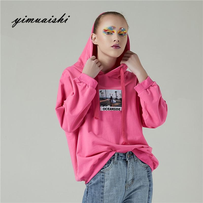 2018 Sale New Arrival Pink Pullovers Hoodie Autumn Spring Casual Women Hoodies Sweatshirts Sleeve Womens Pullover