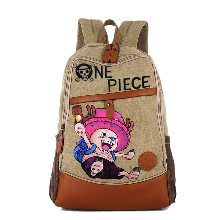 Anime One Piece Cosplay Chopper Canvas shoulder bag female Japanese and Korean college wind travel backpack student bag graffiti anime tokyo ghoul cosplay anime shoulder bag male and female middle school student travel leisure backpack