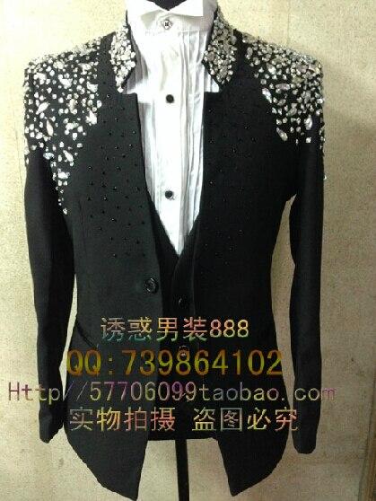 NEW 2017 men Korean Slim dress studio seam drilling bar singer moderator suit (On clothes + pants) custom big yards / S XXL