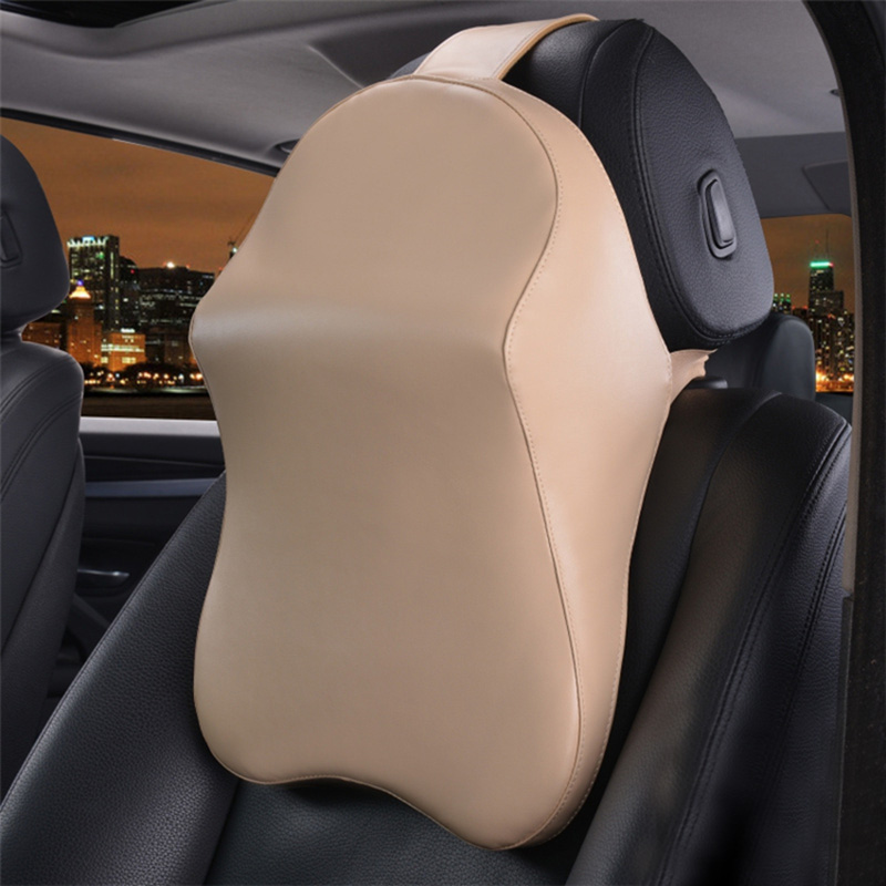 leather car headrest pillow memory foam auto neck support cushion car front seats rest head. Black Bedroom Furniture Sets. Home Design Ideas
