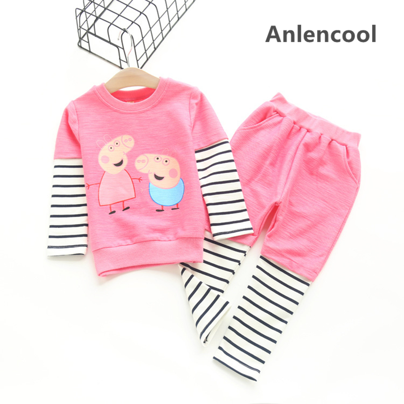 Anlencool 2pcs Cotton Baby Clothing Set Fashion pig Striped Newborn Boy Girl Clothes Suit Cheap Bebes Long Shirt Pants Infant cute newborn baby boy girl clothes floral infant bebes cotton romper bodysuit bloomers bottom 2pcs outfit bebek giyim clothing
