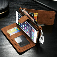 2 In 1 Luxury Business Durable Flip Wallets Magnetic Genuine Leather Case Cover For Iphone 6