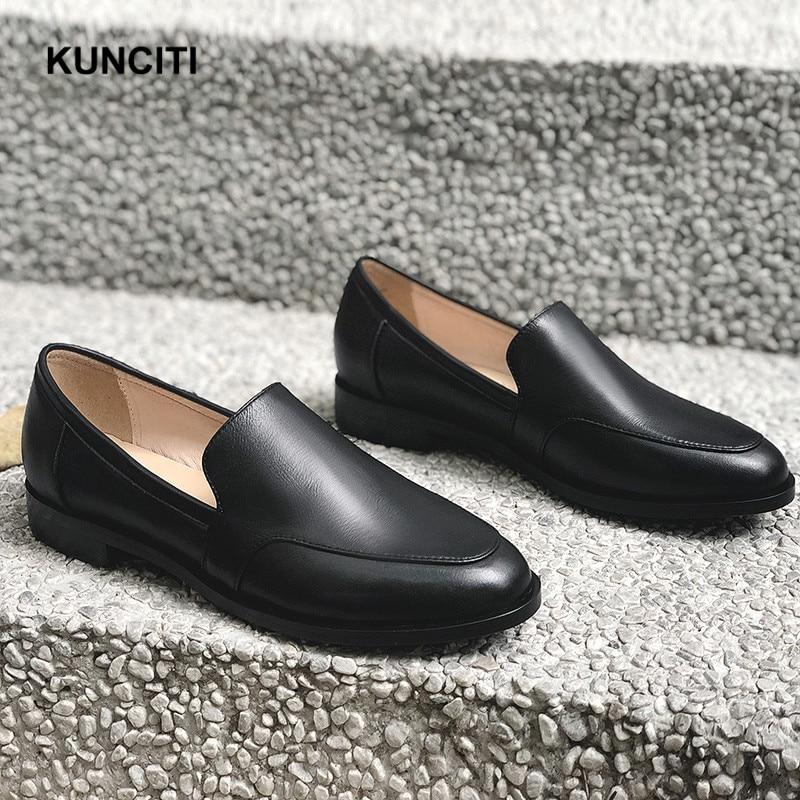 Plat F910 Kunciti Mode Femmes Britannique Coréenne De Mocassins Rond Cuir Véritable Designer Bureau Date En 2019 Beige black Style Chaussures Bout xUYwqpgY