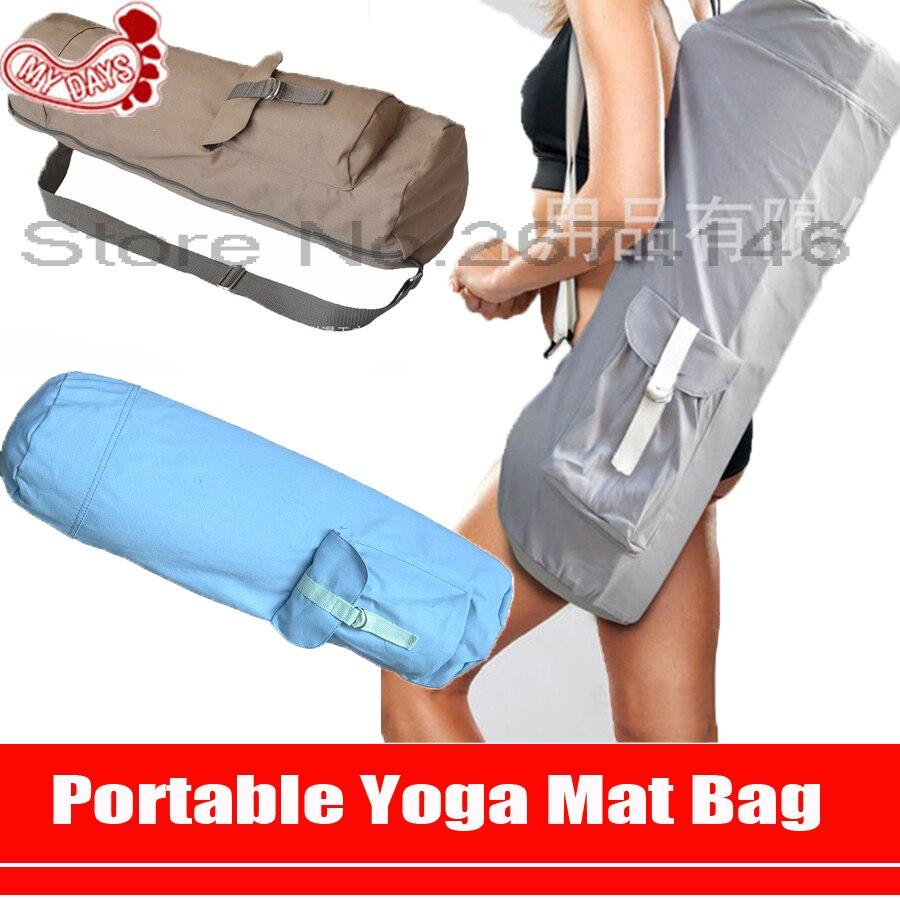 MY DAYS Khaki Blue Cotton <font><b>Yoga</b></font> Mat Bags Sport Goods Package Adjustable Shoulder Strap Full Zipper <font><b>Yoga</b></font> Holder with Cargo Pocket