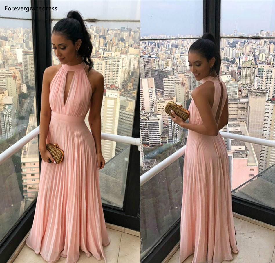 2019 Pink Bridesmaid Dresses Halter Chiffon Summer Country Garden Wedding Party Guest Maid Of Honor Gowns Plus Size Custom Made