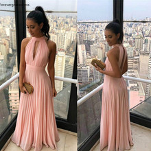 2019 Pink Bridesmaid Dresses Halter Chiffon Summer Country G