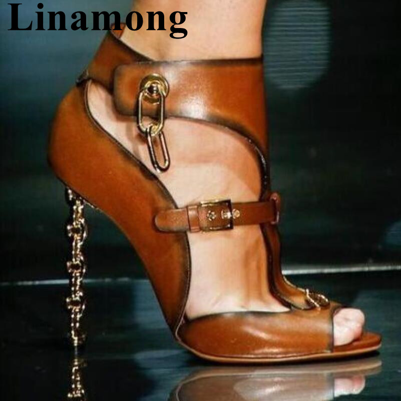 Summer Fashion Newest Brown Color Metal Heel Sexy High Heel And Open Toe Bucke Strap Decoration Black Women Sandals High QualitySummer Fashion Newest Brown Color Metal Heel Sexy High Heel And Open Toe Bucke Strap Decoration Black Women Sandals High Quality