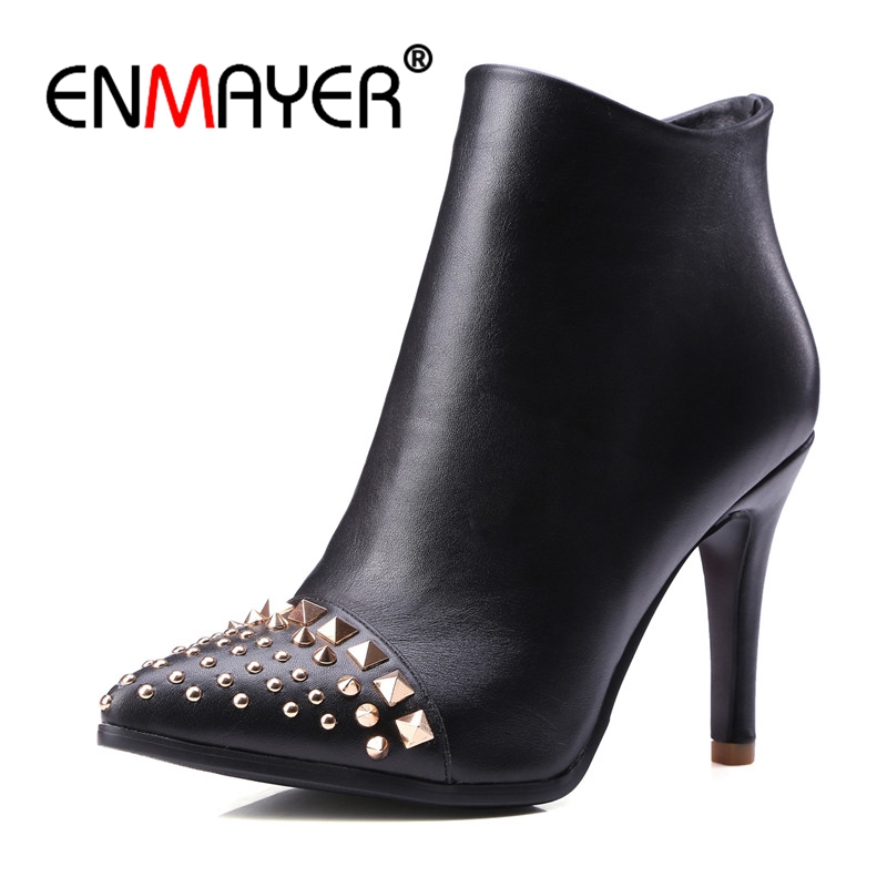 ENMAYER Big Size 34-43 Autumn Winter Ankle Boots for Women High Heels Sexy Shoes Rivets Woman Pointed Toe Boots Thin Heels CR593 enmayer shoes woman supper high heels ankle boots for women winter boots plus size 35 46 zippers motorcycle boots round toe