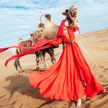 NEW Red Vintage Long Sleeve  Split Autumn 2 Piece Tank Top Maxi Dress Women Chiffon Gypsy Hippie Beach Gorgeous Dresses