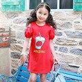 Pastorale hombro verano pequeños vestidos de las niñas adolescentes rojo carácter impreso niños vestidos de las muchachas 2017 niños de la ropa
