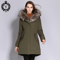 COUTUDI Winter Jacket Women 2017 Parkas Plus Size Outwear Coats Women Army Green Big Fur Hood