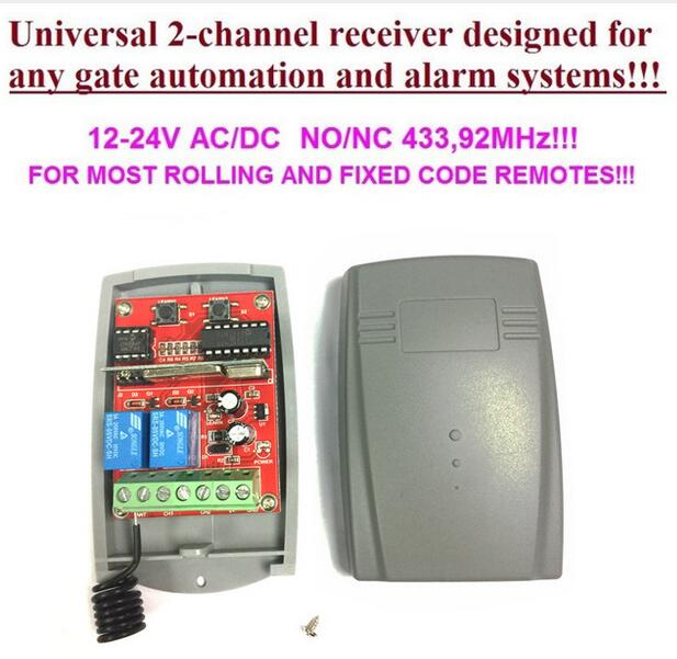 2 relays DC12V/24V Compatible DoorHan,BFT,DEA,ATA, NICE,BENINCA receiver fixed code and rolling code 433.92mhz free shipping free shipping 433mhz rolling code bft