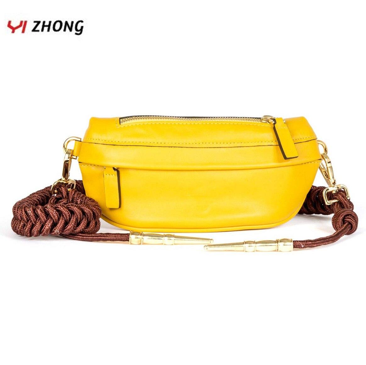YIZHONG Braided Knot Waist Bag Luxury Designer Chest Bag  Leather Women Fanny Packs Fashion Belt Bag Crossbody For Women