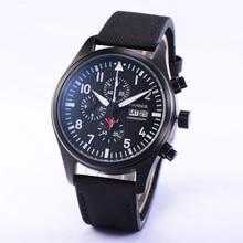 Piloto Parnis 42mm PVD Cronógrafo Esfera de Color Negro con Blanco Marcadores Negro Caja Del Reloj de Los Hombres Reloj de Pulsera