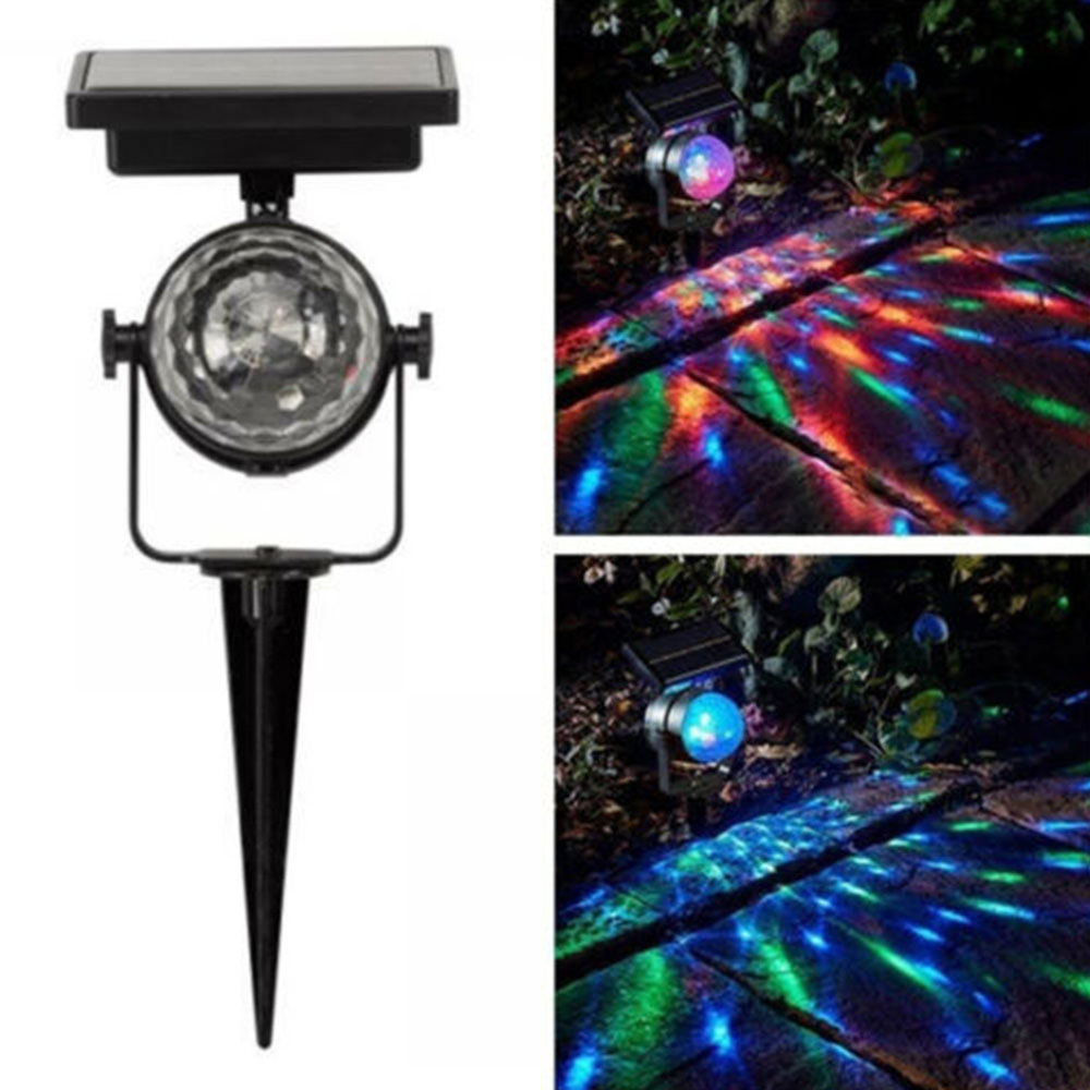 Solar Rotating LED Projection Light Garden Lawn Lamp Outdoor Bulb Colorful Light