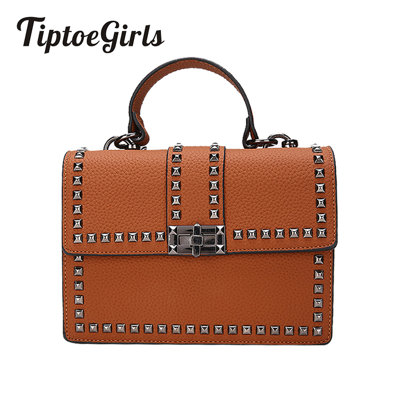Tiptoegirls Woman Bags Luxury Handbags Women Messenger Bags Cover Rivet Bag Girls Fashion Shoulder Bag Ladies PU Leather Handbag