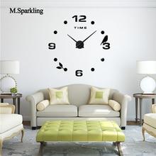M.Sparkling decorative wall clock 3D large size creative bird design digital bedroom DIY unique gift home decoratio